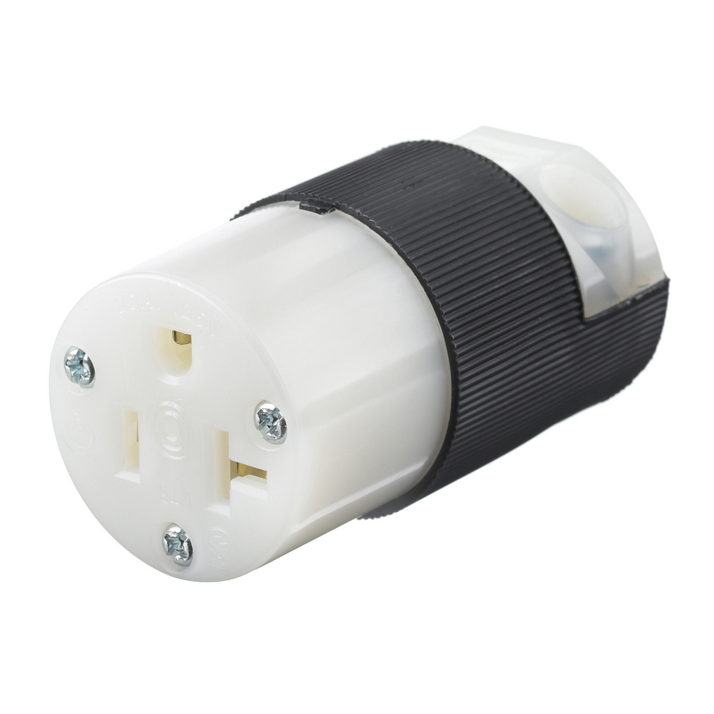 Hubbell Wiring Devices HBL5369C 20 Amp 125 Volt 2-Pole 3-Wire NEMA 5-20R Black and White Straight Blade Connector Body