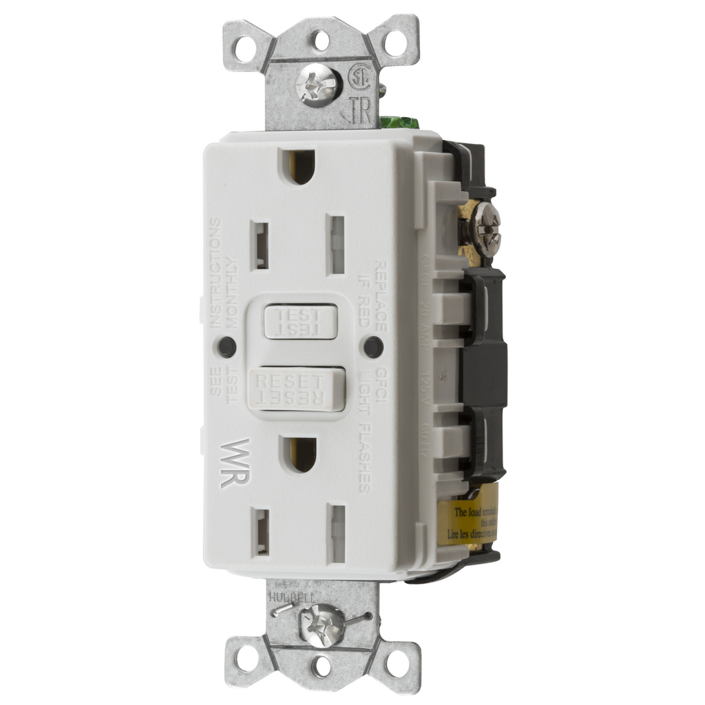 Hubbell Wiring Devices GFTWRST15W 15 Amp 125 Volt 2-Pole 3-Wire NEMA 5-15R White GFCI Receptacle