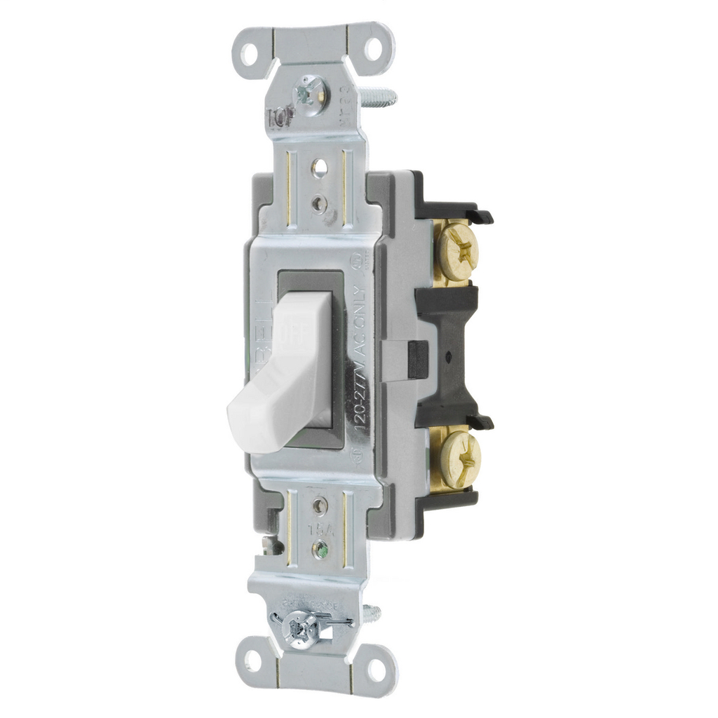 Hubbell Wiring Devices CS115W 15 Amp 120/277 VAC 1-Pole White Toggle Switch
