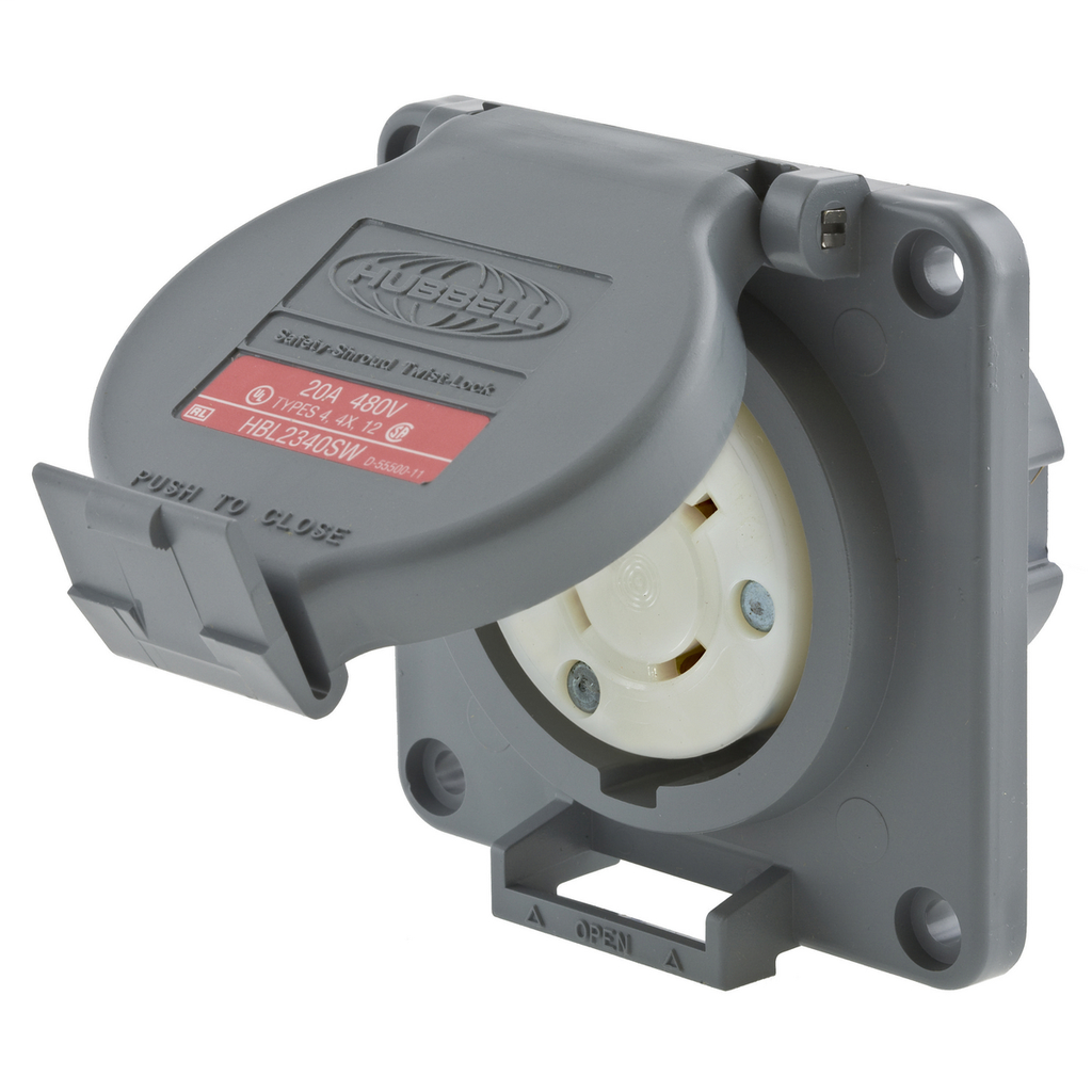 Hubbell Wiring Devices HBL2340SW Watertight Safety-Shroud 20 Amp 480 Volt Gray L8-20R Locking Device Receptacle