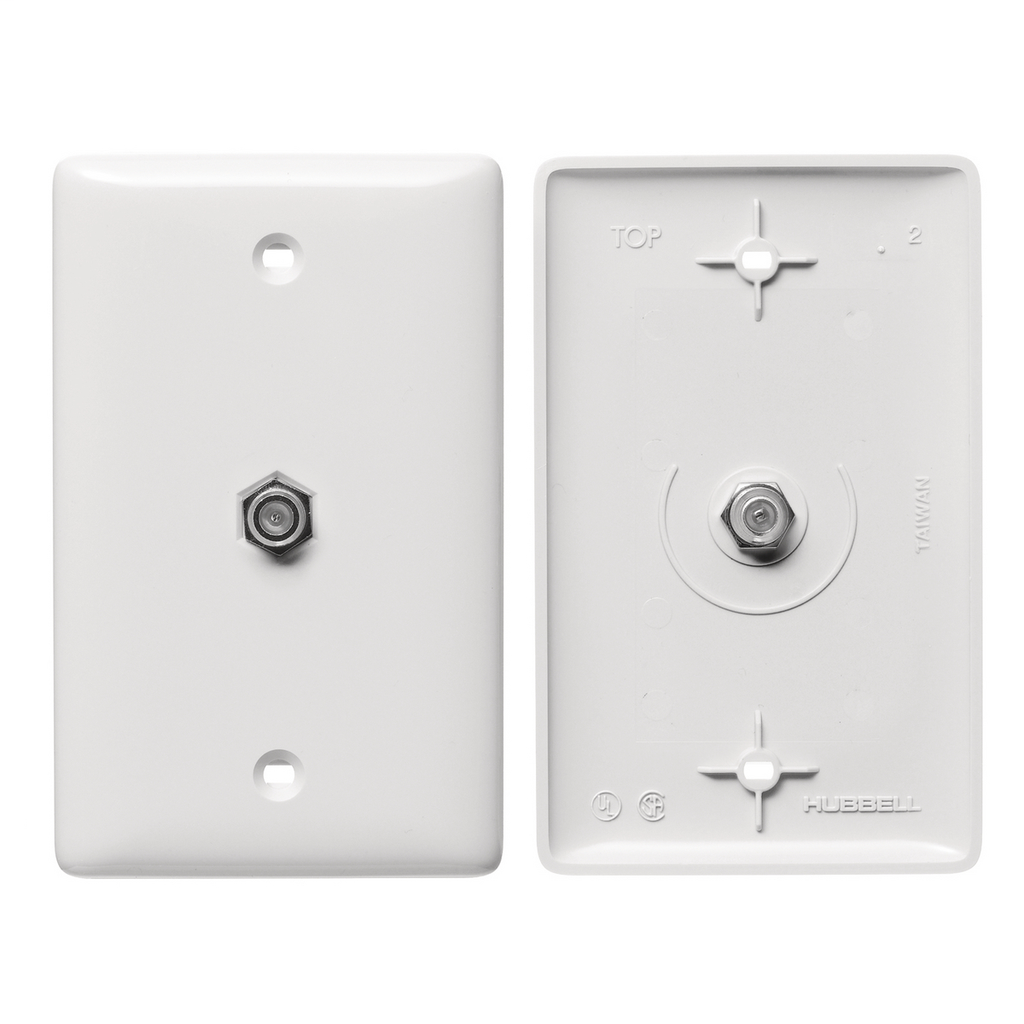 Mayer-Plates, 1-Gang, With F Connector, White-1