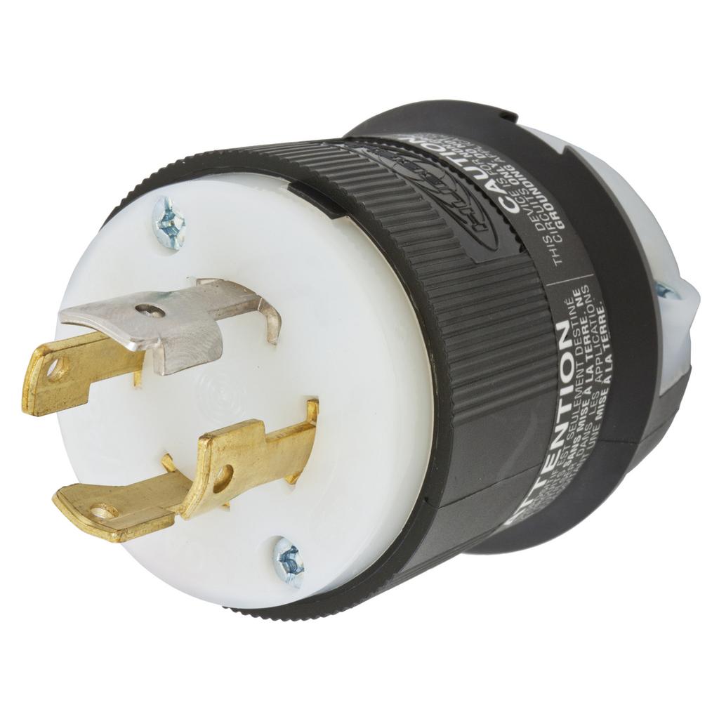 Hubbell Wiring Devices HBL2761 30 Amp 277/480 VAC 4-Pole 4-Wire NEMA L19-30P Black and White Locking Plug