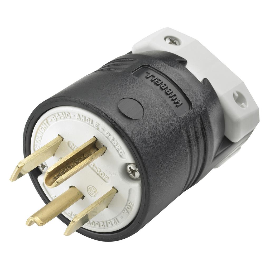 Hubbell Wiring Devices HBL9431C 30 Amp 125/250 Volt 3-Pole 4-Wire NEMA 14-30P Black Nylon Straight Blade Plug