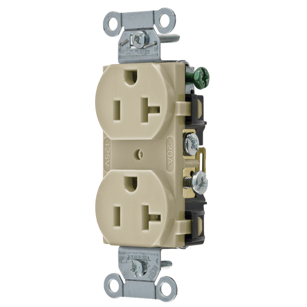 Hubbell Wiring Devices CR20I 20 Amp 125 Volt 2-Pole 3-Wire NEMA 5-20R Ivory Straight Blade Duplex Receptacle