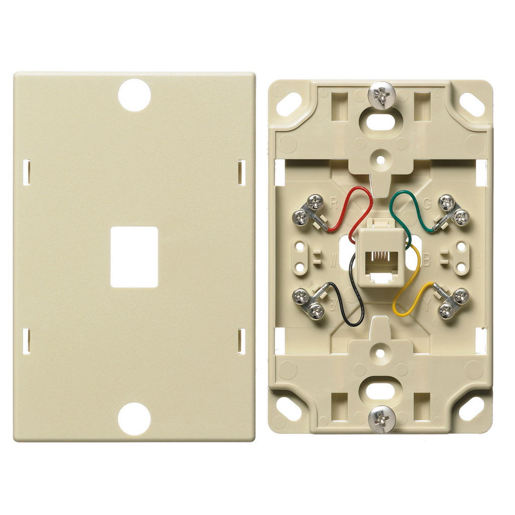 Hubbell Wiring Devices NS722I Ivory Thermoplastic 6-Position 4-Conductor Telephone Wall Jack
