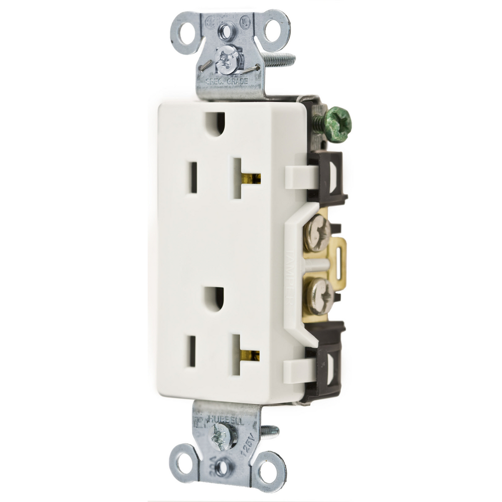 Hubbell Wiring Devices DR20WHI 20 Amp 125 Volt 2-Pole 3-Wire NEMA 5-20R White Decorator Straight Blade Receptacle