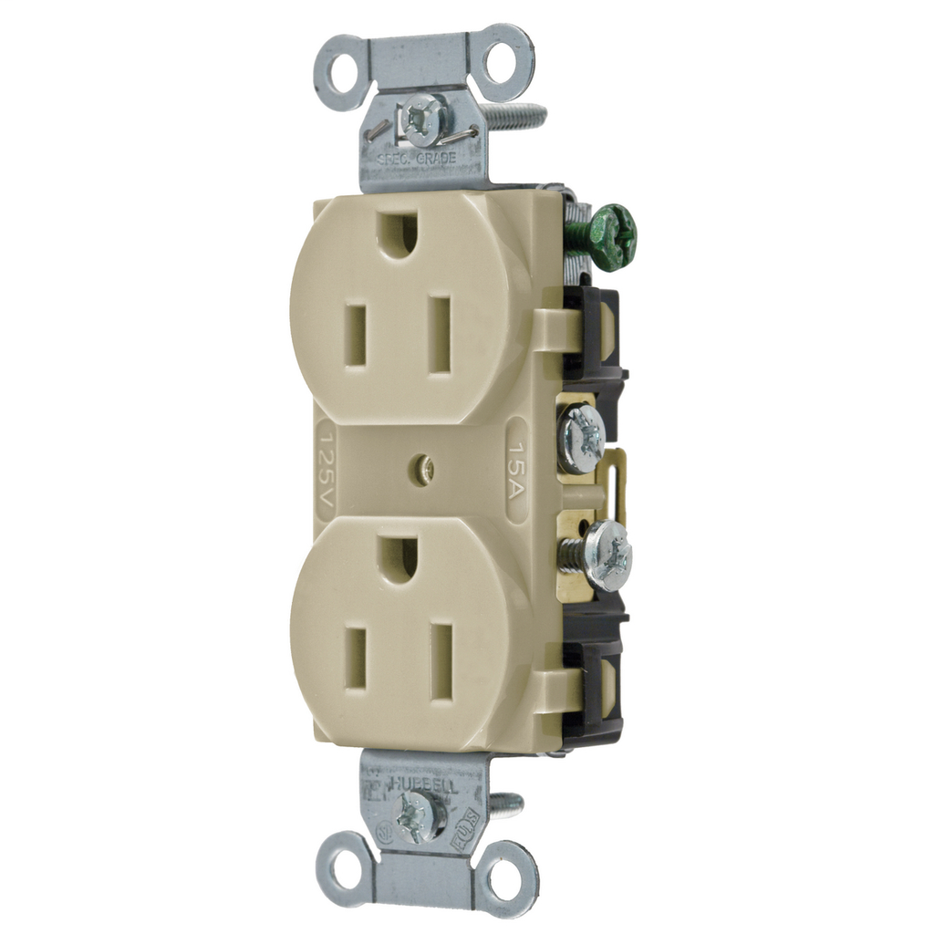Hubbell Wiring Devices CR15I 15 Amp 125 Volt 2-Pole 3-Wire NEMA 5-15R Ivory Straight Blade Duplex Receptacle