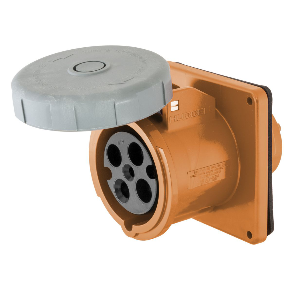 Hubbell Wiring Devices HBL4100R12W 100 Amp 125/250 Volt 3-Pole 4-Wire Watertight IEC Pin and Sleeve Receptacle