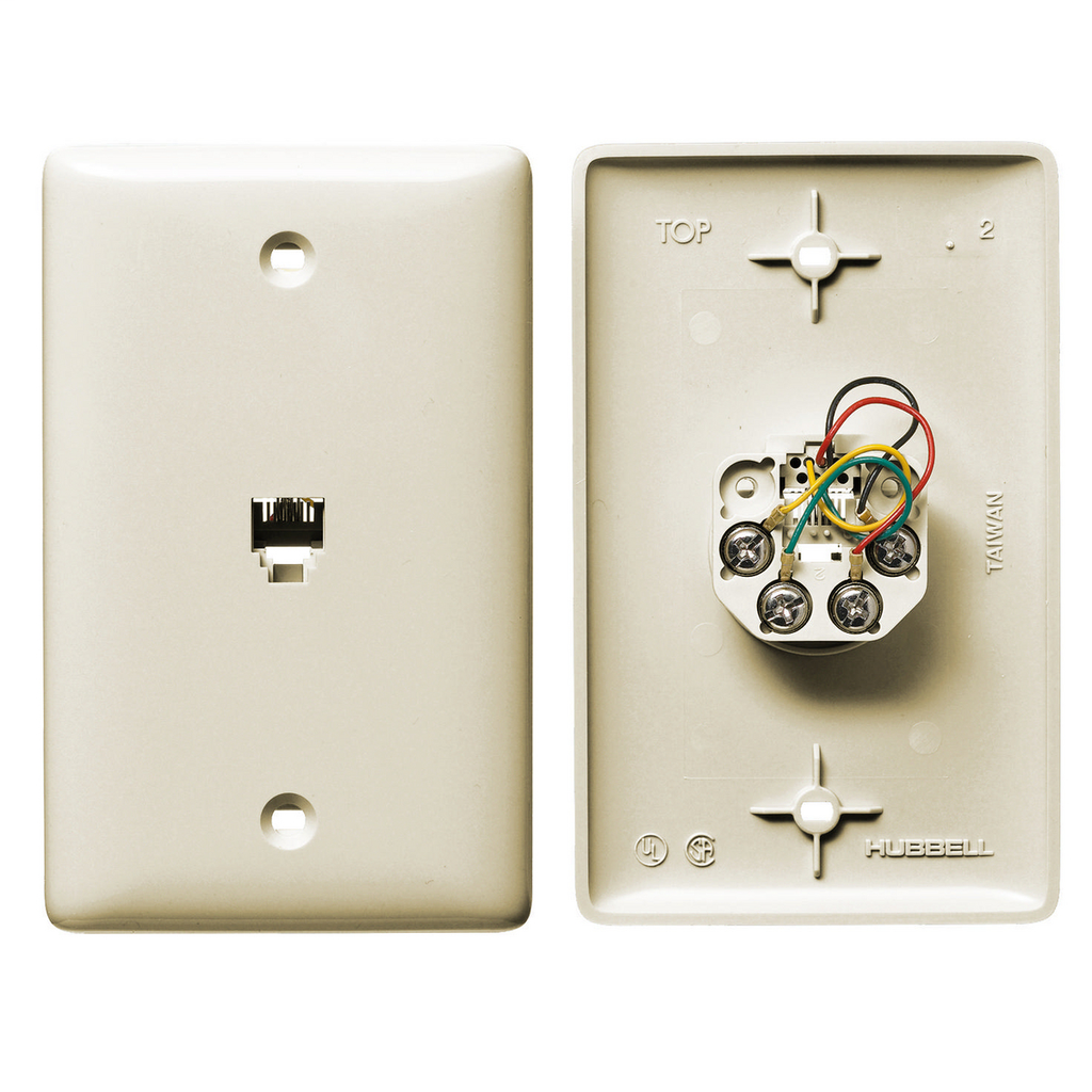 Mayer-Plates, 1-Gang, With Jack, 6-Position 4-Conductor, Screw Terminal, Light Almond-1