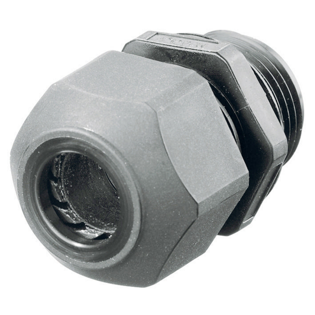 Hubbell Wiring Devices SEC100GA 1 Inch Threaded 0.59 to 1 Inch Gray Non-Metallic Low Profile Cord Connector