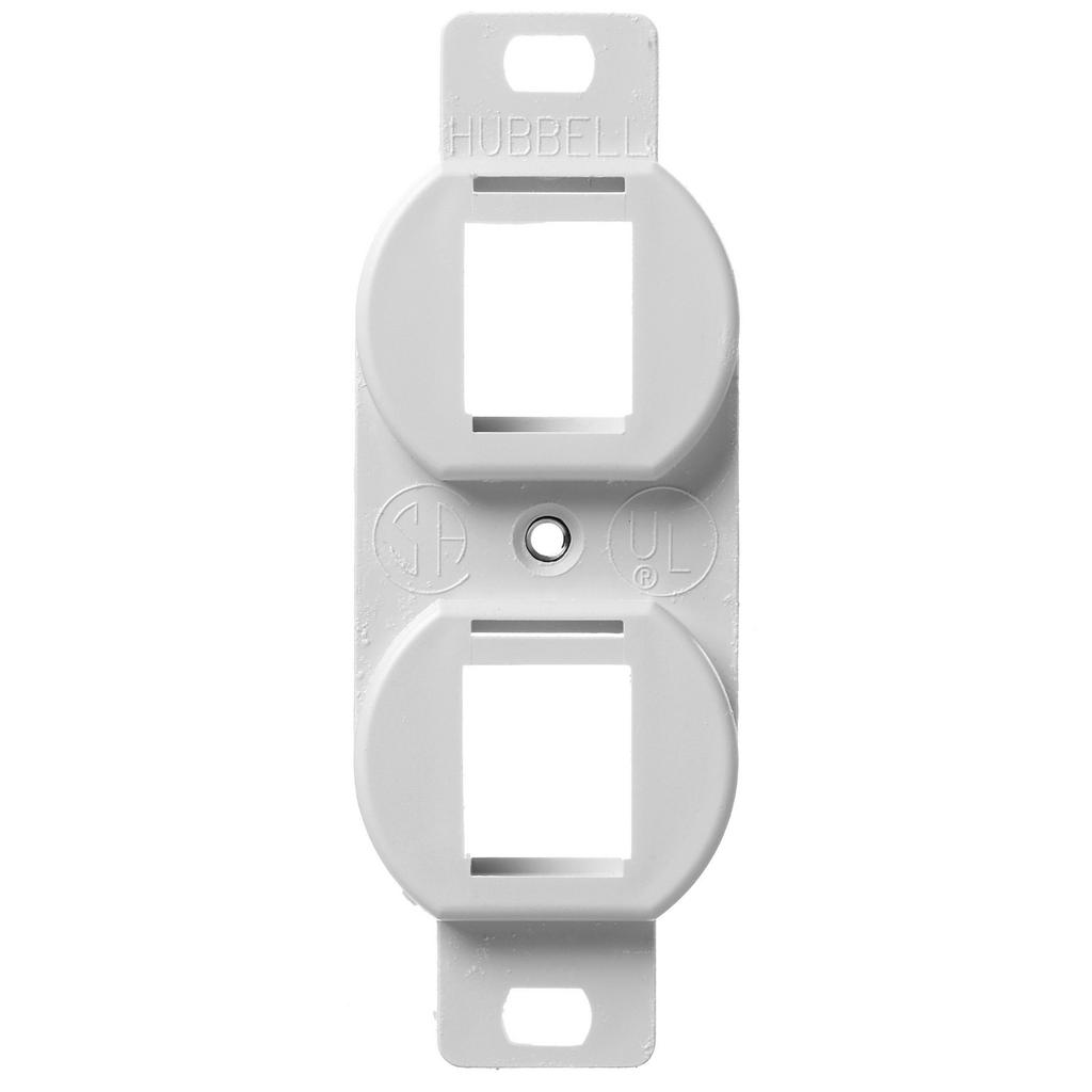 Mayer-Phone/Data/Multimedia Component, Outlet Frame, Duplex 106, 2-Port, White-1
