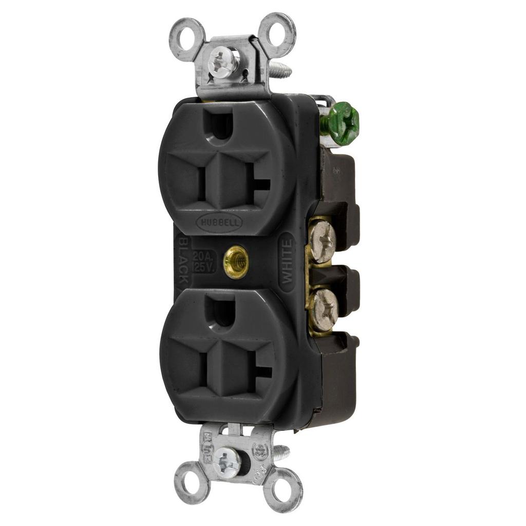 Hubbell Wiring Devices 5362BLK 20 Amp 125 Volt 2-Pole 3-Wire NEMA 5-20R Black Straight Blade Duplex Receptacle