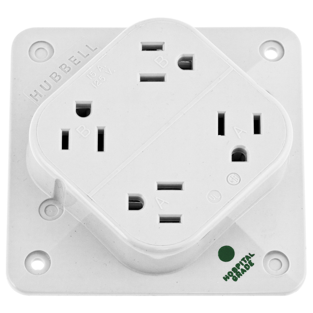 Hubbell Wiring Devices HBL415HW 15 Amp 125 Volt 2-Pole 3-Wire NEMA 5-15R White Straight Blade Receptacle