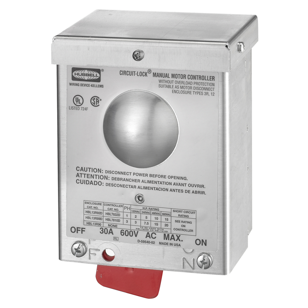 Hubbell Wiring Devices HBL13R92D 30 Amp 600 VAC 2-Pole NEMA 3R Non-Metallic Disconnect Switch Enclosure