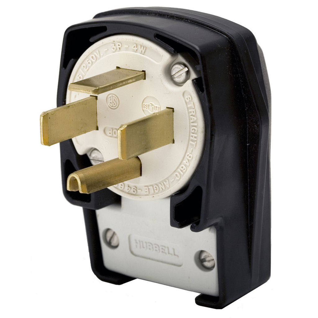 Hubbell Wiring Devices HBL9462C 60 Amp 125/250 Volt 3-Pole 4-Wire NEMA 14-60P Black Nylon Straight Blade Angle Plug