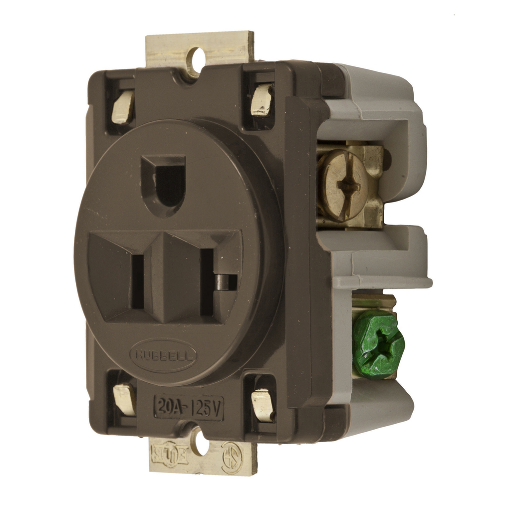 Hubbell Wiring Devices HBL5357 20 Amp 125 Volt 2-Pole 3-Wire NEMA 5-20R Brown Single Panel Mount Receptacle