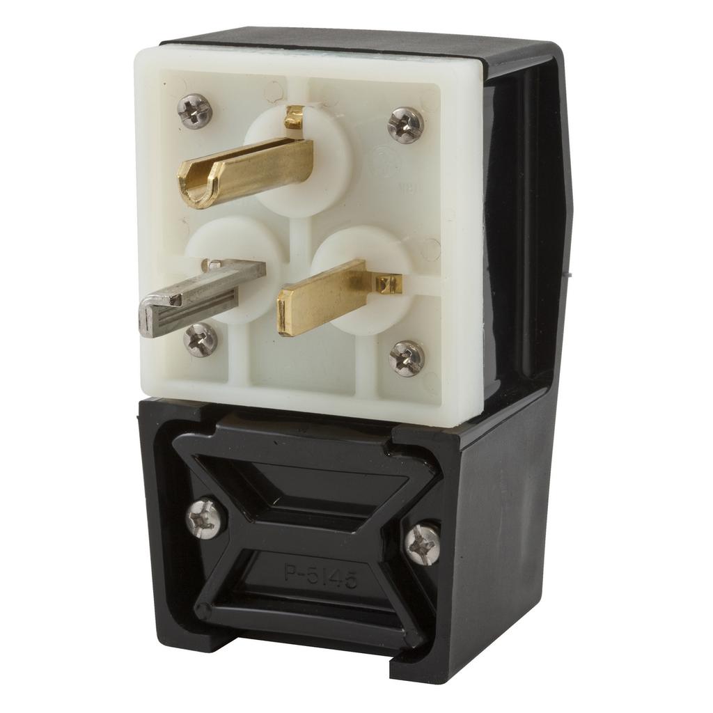 Hubbell Wiring Devices HBL9309 30 Amp 125 Volt 2-Pole 3-Wire NEMA 5-30P Black Straight Blade Plug