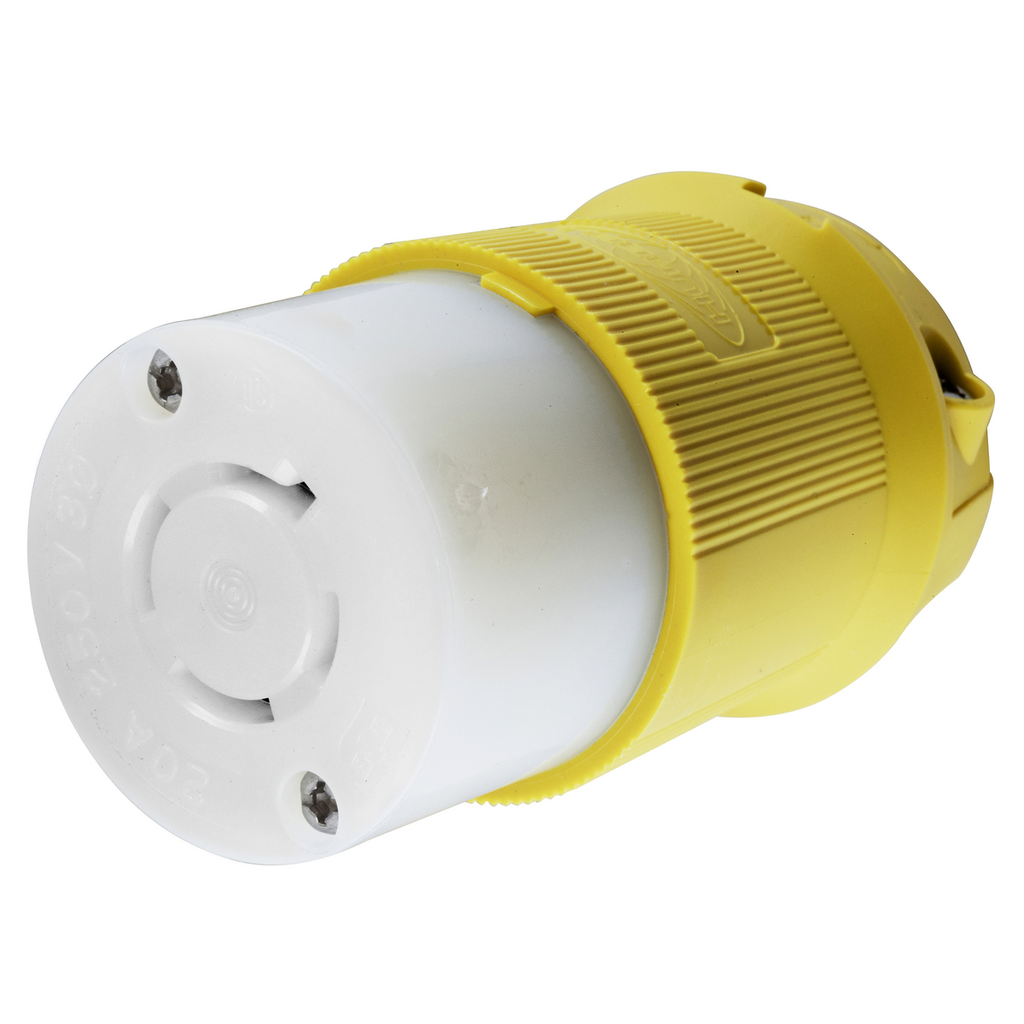 Hubbell Wiring Devices HBL24CM23 20 Amp 250 Volt 3-Pole 4-Wire NEMA L15-20R Yellow Locking Connector Body