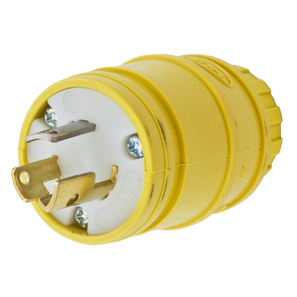 Hubbell Wiring Devices HBL24W47 15 Amp 125 Volt 2-Pole 3-Wire NEMA L5-15P Yellow Watertight Locking Plug