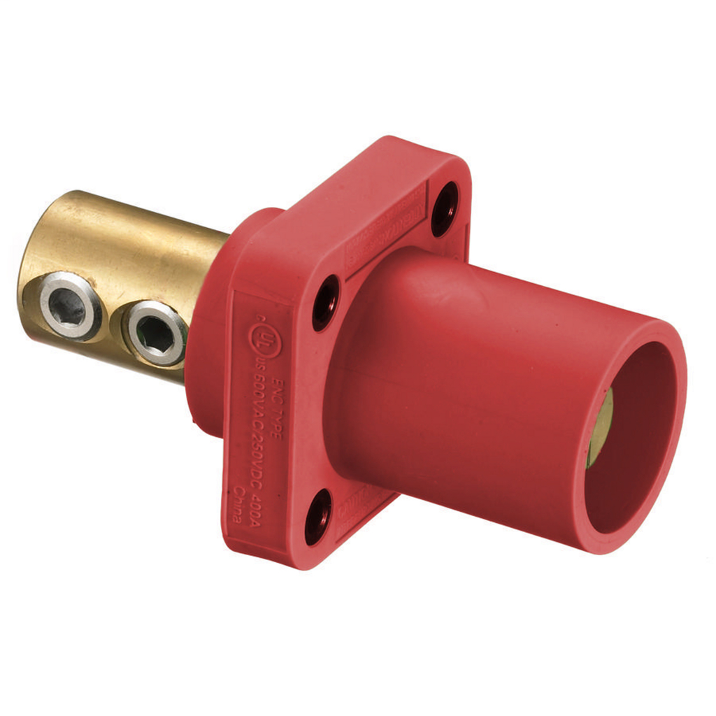 Hubbell HBLMRR 400 Amp 1-Pole Red Double Set Screw Male Cam Type Receptacle
