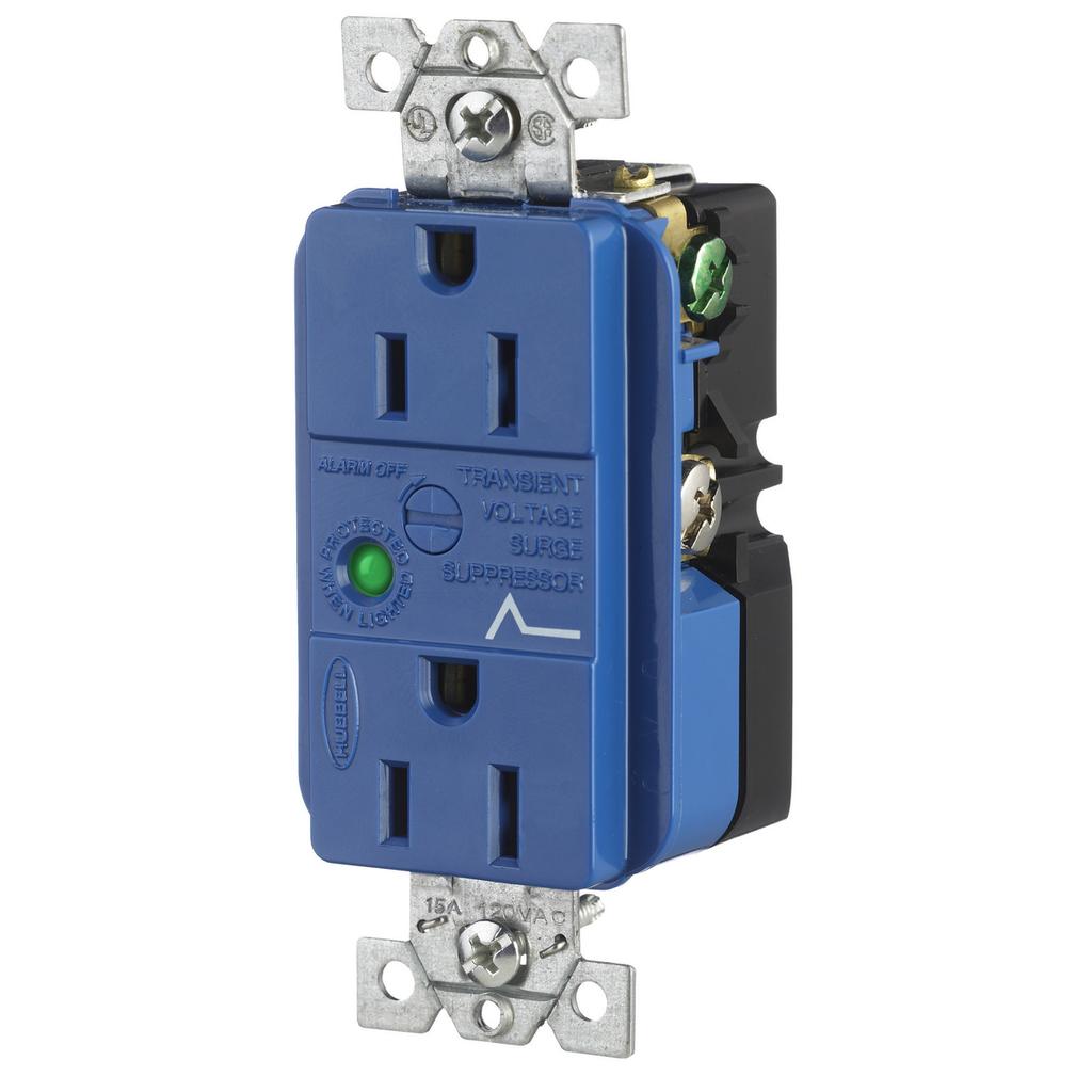 Hubbell Wiring Devices HBL5260SA 15 Amp 125 Volt NEMA 5-15R Blue Surge Protection Device Duplex Receptacle