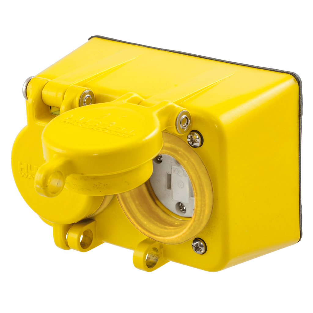 Hubbell Wiring Devices HBL60W47D 15 Amp 125 Volt 2-Pole 3-Wire NEMA 5-15R Yellow Straight Blade Device Duplex Receptacle