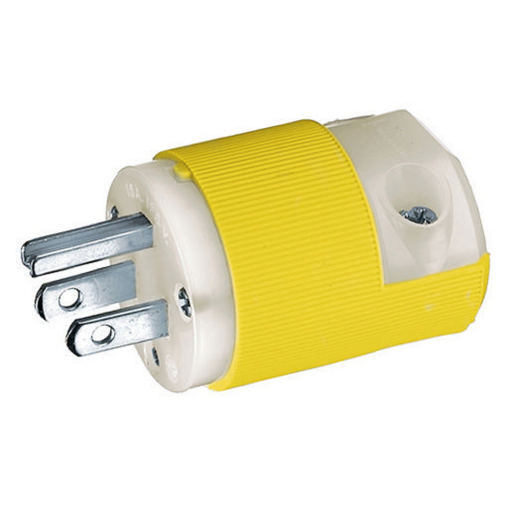 Hubbell Wiring Devices HBL52CM66C 15 Amp 125 Volt 2-Pole 3-Wire NEMA 5-15P Yellow Nylon Straight Blade Plug