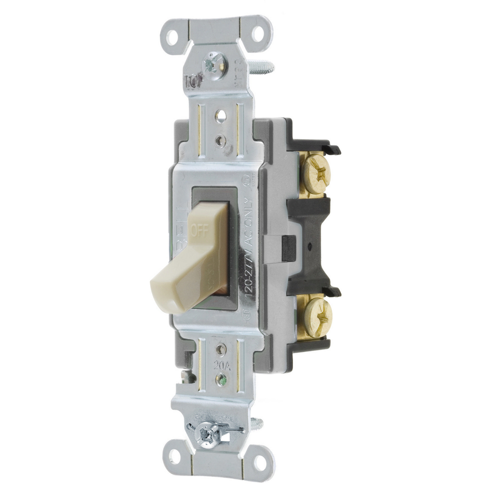 Hubbell Wiring Devices CS120I 20 Amp 120/277 VAC 1-Pole Ivory Toggle Switch