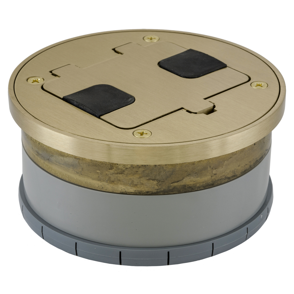 Hubbell Wiring Devices RF409BR Solid Brass Hardwood and Tile Floor Flush Fit Box