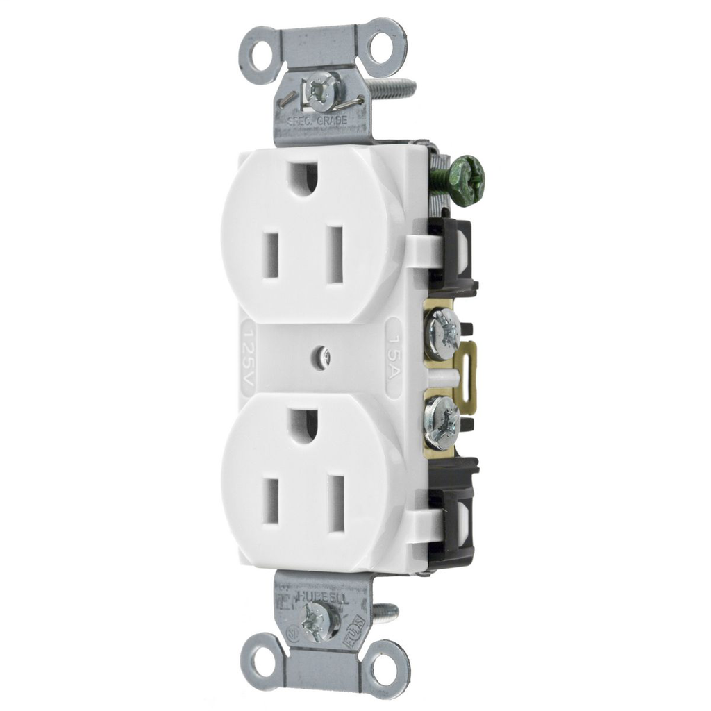 Hubbell Wiring Devices 5252AW 15 Amp 125 Volt 2-Pole 3-Wire NEMA 5-15R White Straight Blade Duplex Receptacle