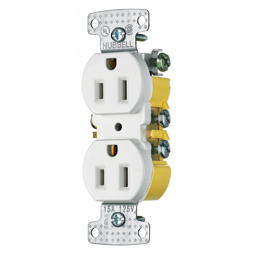 Hubbell Wiring Devices RR15W 15 Amp 125 Volt 2-Pole 3-Wire NEMA 5-15R White Duplex Receptacle