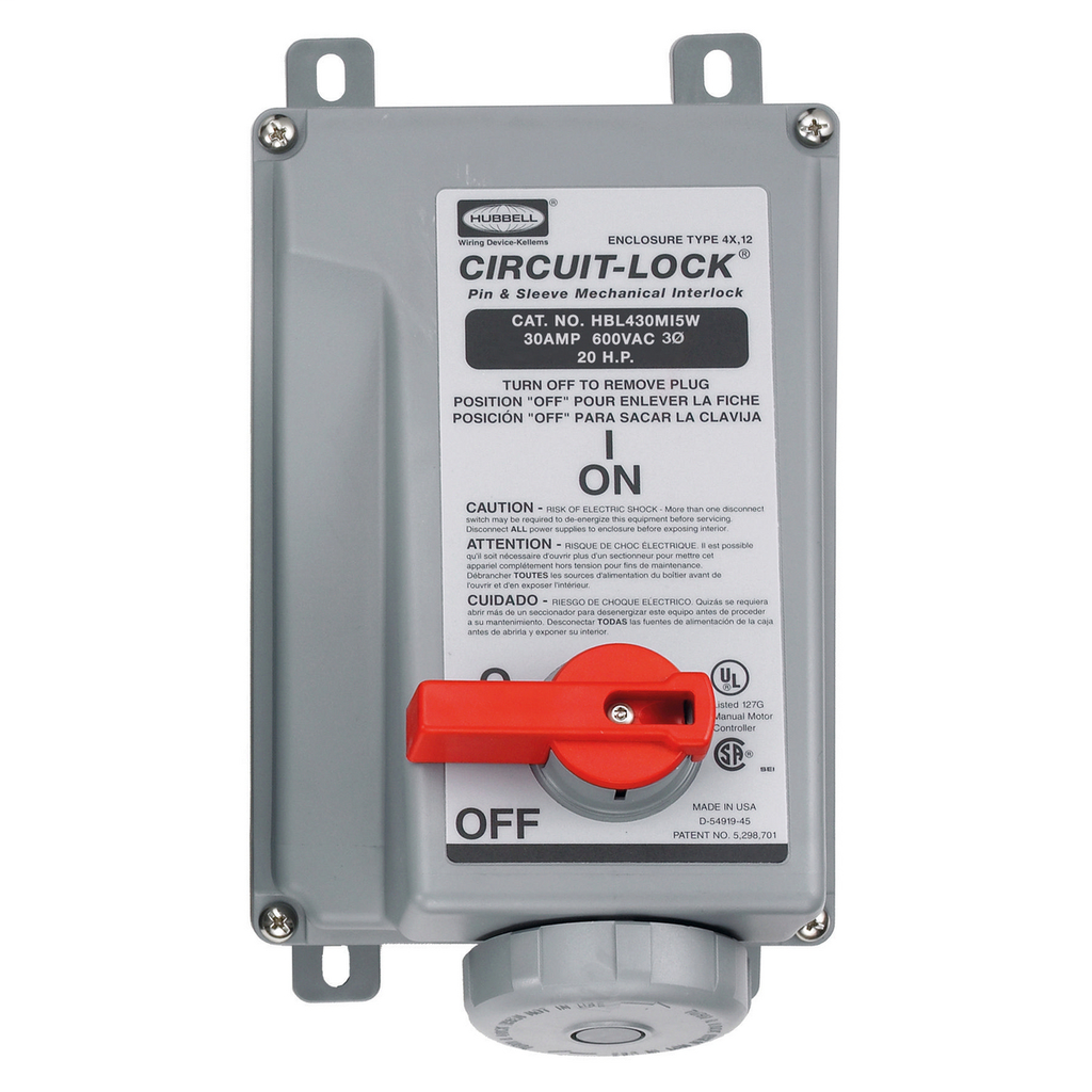 Hubbell Wiring Devices HBL430MI5W 30 Amp 600 Volt 3-Pole 4-Wire Watertight IEC Pin and Sleeve Mechanical Interlock