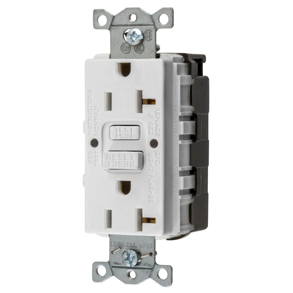 Hubbell Wiring Devices GFRST20SNAPW 20 Amp 125 Volt 2-Pole 3-Wire NEMA 5-20R White GFCI Receptacle