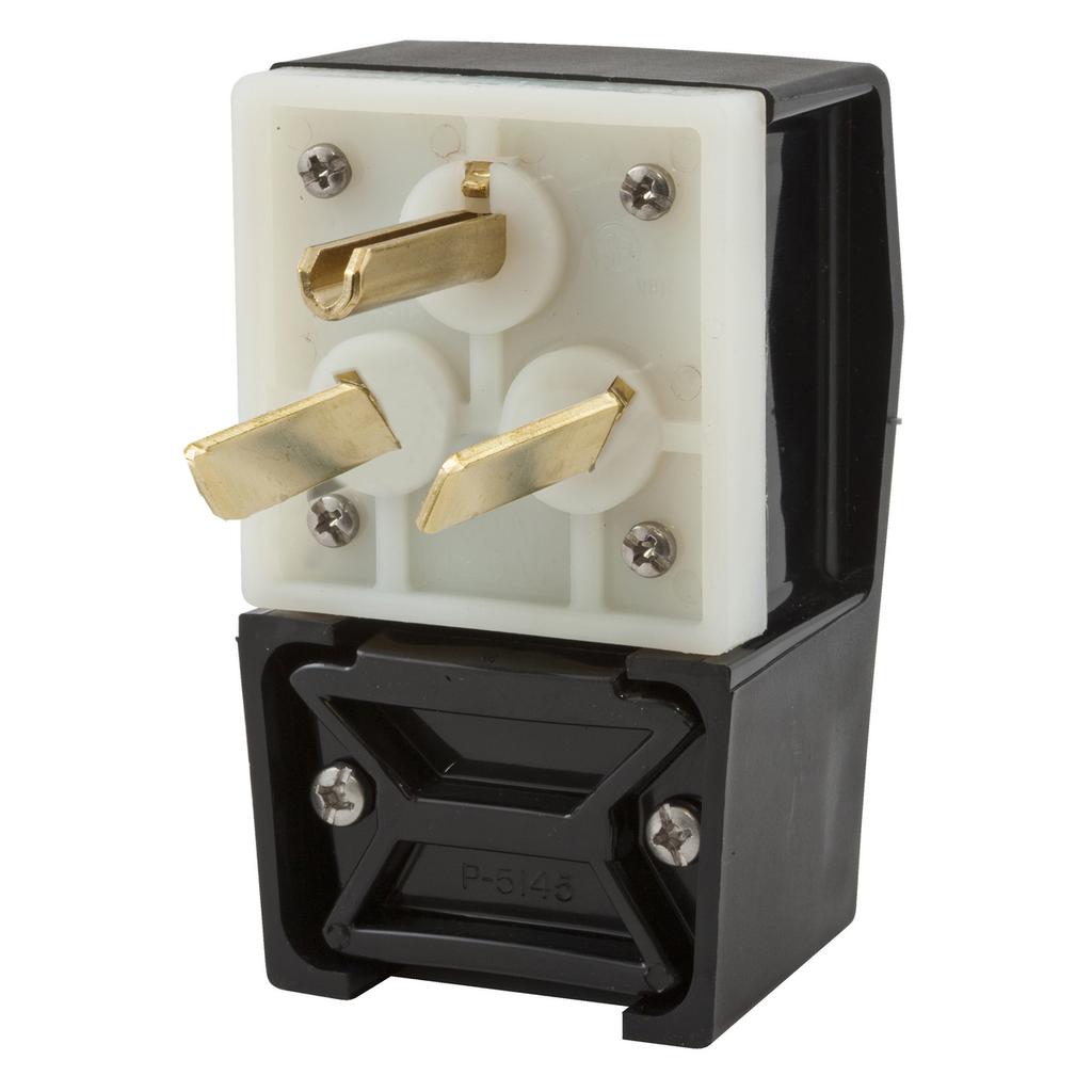 Hubbell Wiring Devices HBL9379 50 Amp 277 VAC 2-Pole 3-Wire NEMA 7-50P Black Nylon Straight Blade Plug