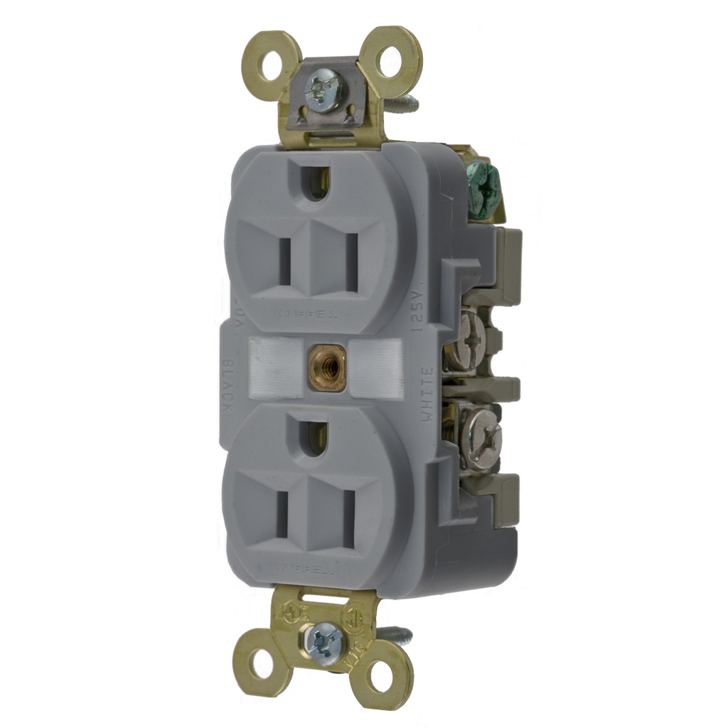 Hubbell Wiring Devices HBL5262GY 15 Amp 125 Volt 2-Pole 3-Wire NEMA 5-15R Gray Straight Blade Duplex Receptacle