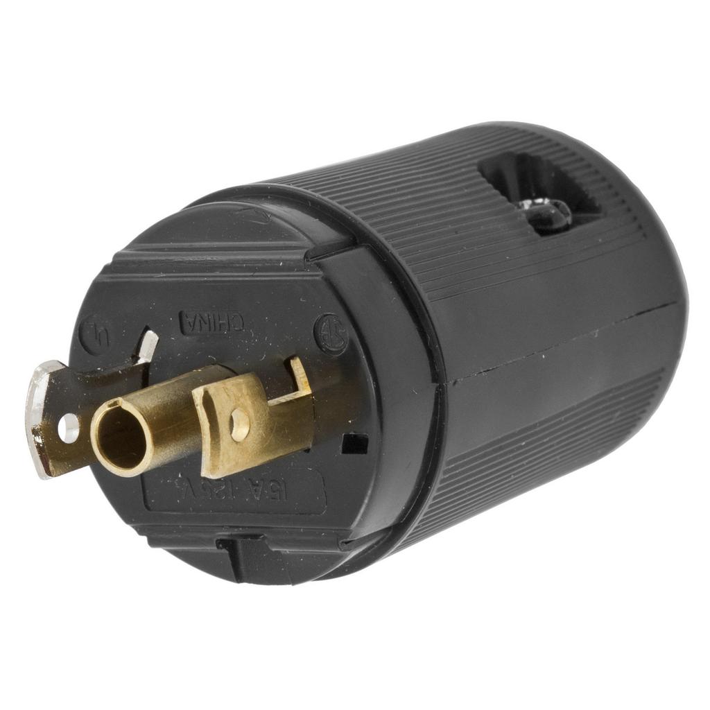 Hubbell Wiring Devices HBL7594V 15 Amp 125 Volt 2-Pole 3-Wire NEMA ML-2P Black Locking Plug