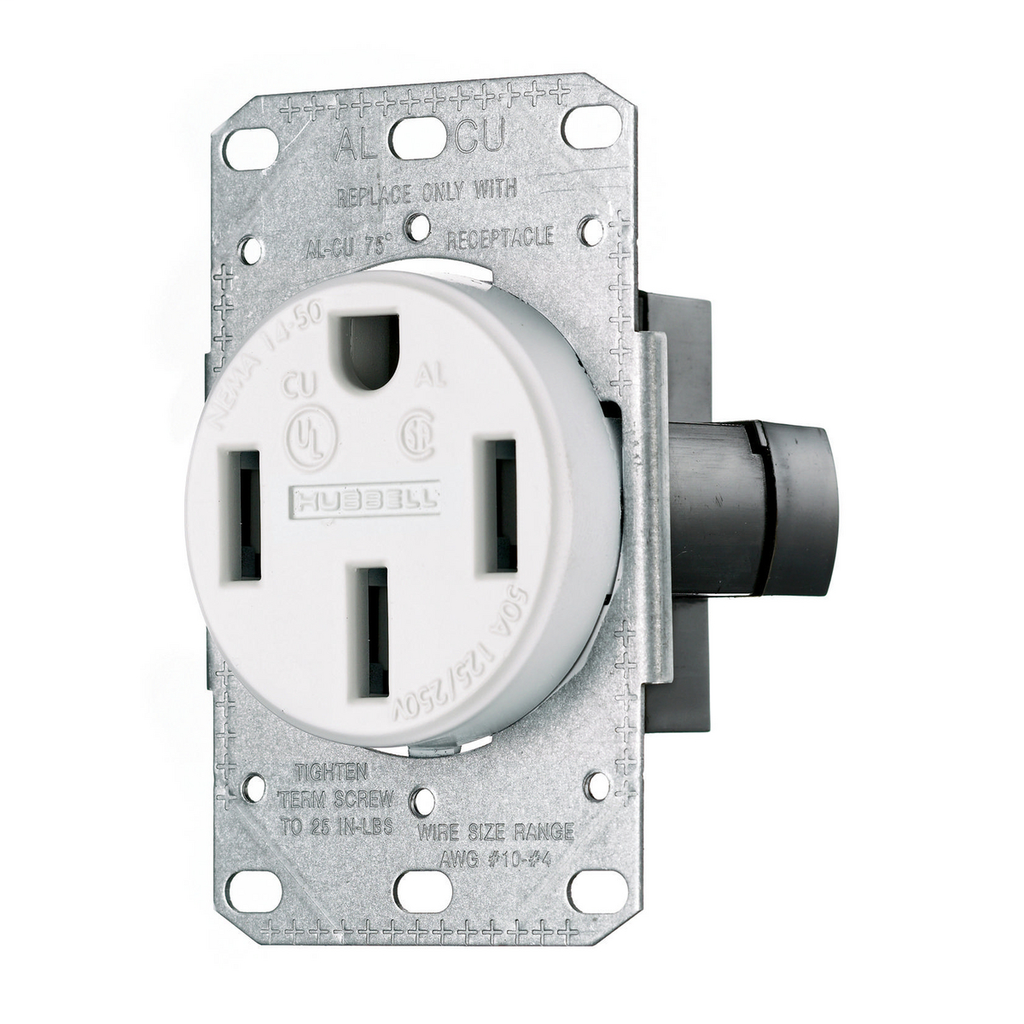 Hubbell Wiring Devices RR450FW 50 Amp 125/250 Volt 3-Pole 4-Wire NEMA 14-50R White Range and Dryer Power Receptacle