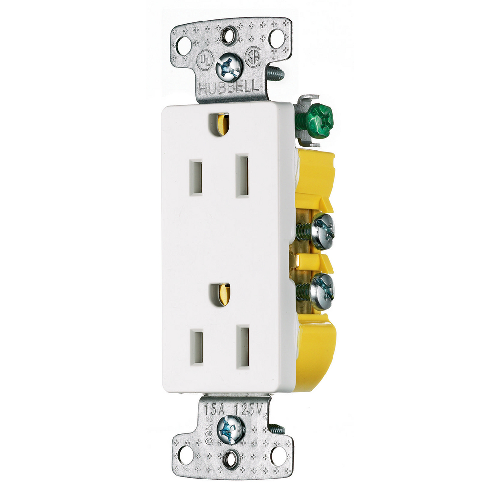 Hubbell Wiring Devices RRD15W 15 Amp 125 Volt 2-Pole 3-Wire NEMA 5-15R White Decorator Duplex Receptacle