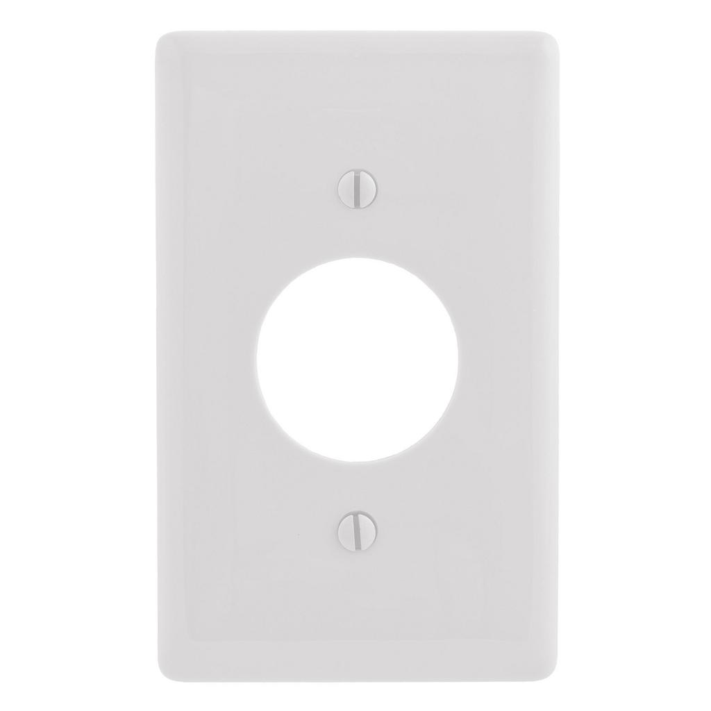 Hubbell Wiring Devices NPJ7W 1-Gang White Nylon Medium 1-Single Receptacle Wallplate