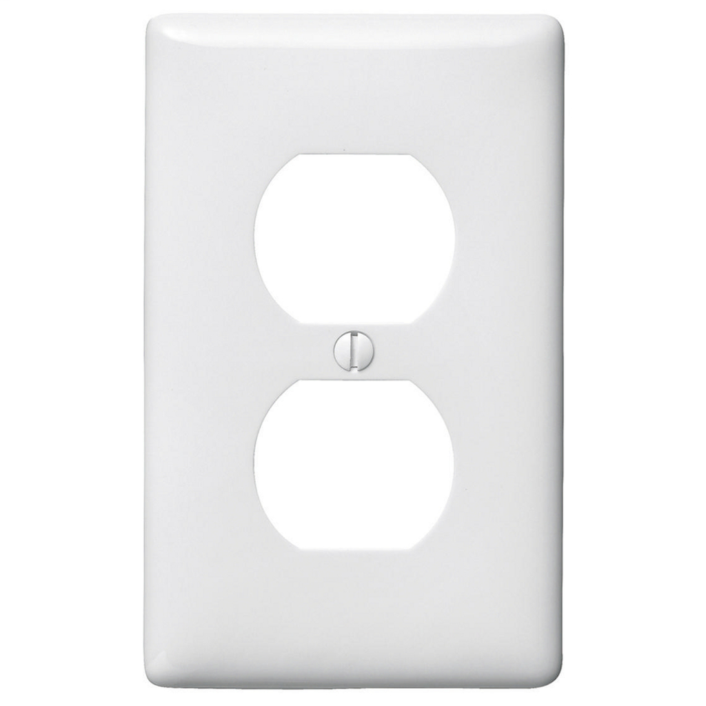Hubbell Wiring Devices NP8W 1-Gang White Nylon Standard 1-Duplex Receptacle Wallplate