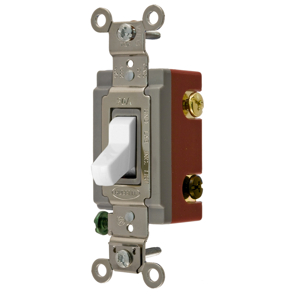 Hubbell Wiring Devices HBL1223W 20 Amp 120/277 VAC 3-Way White Toggle Switch