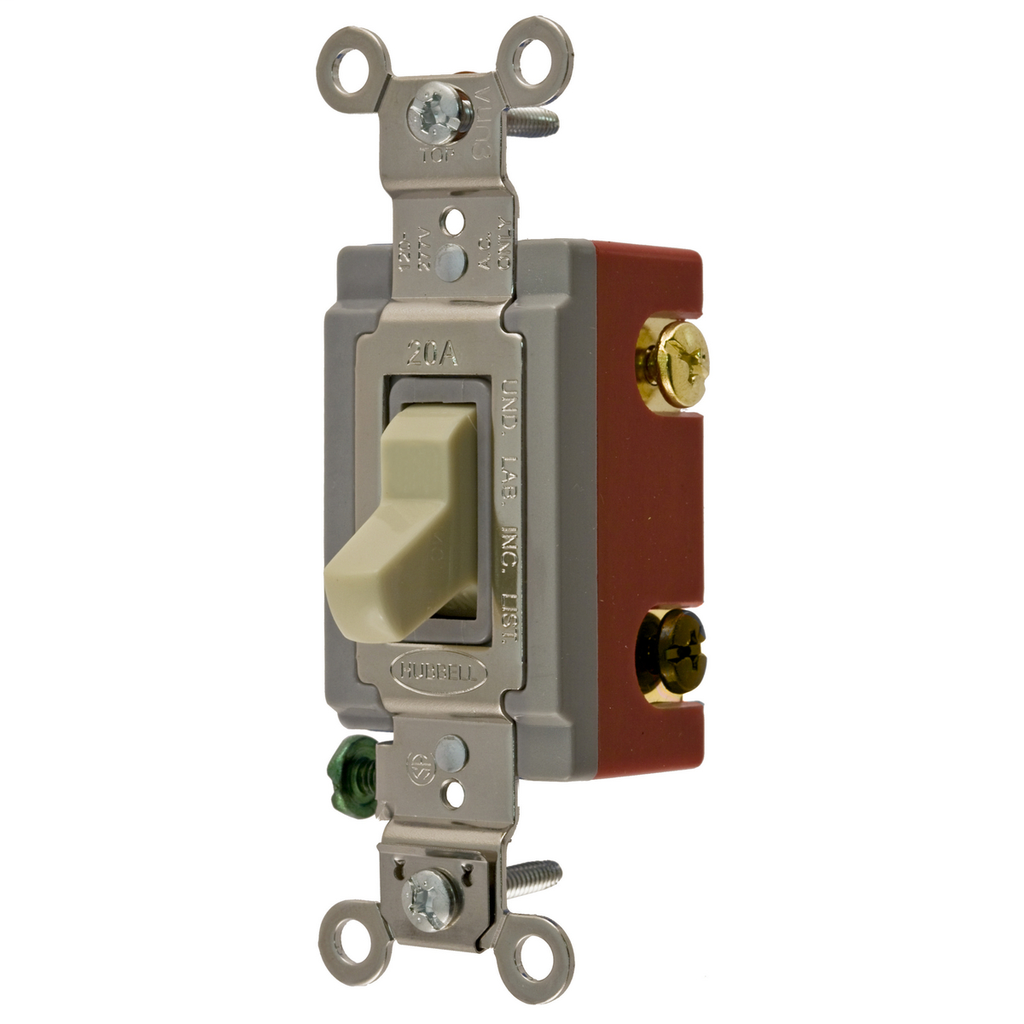 Hubbell Wiring Devices HBL1223I 20 Amp 120/277 VAC 3-Way Ivory Toggle Switch