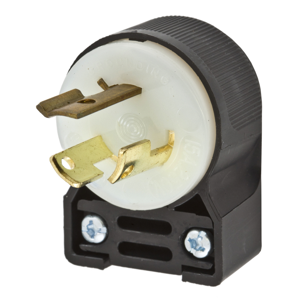 Hubbell Wiring Devices HBL4570CA 15 Amp 250 Volt Black/White L6-15P Locking Angled Plug
