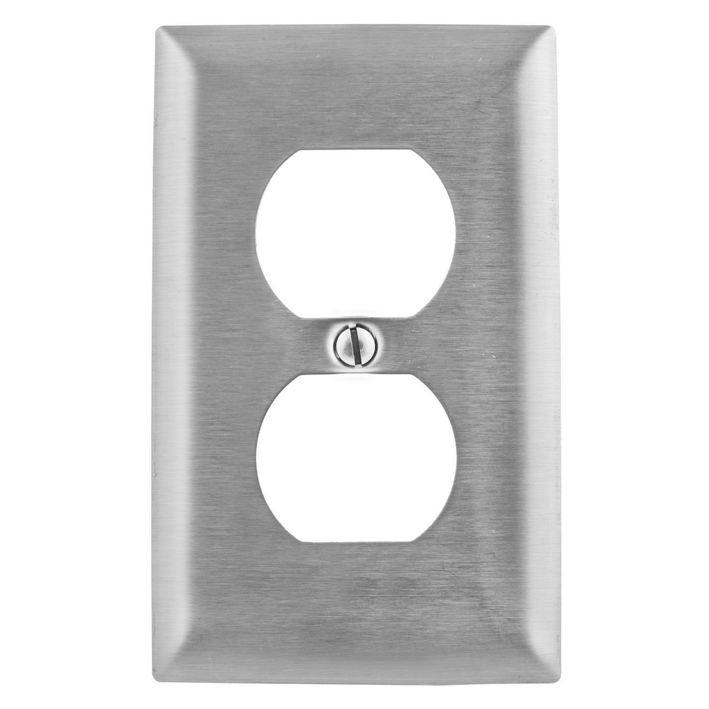 Hubbell Wiring Devices SS8 1-Gang Stainless Steel 1-Duplex Receptacle Strap Mount Wallplate