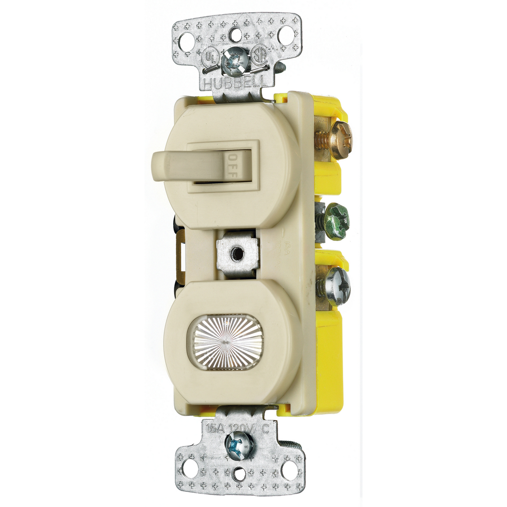 Hubbell Wiring Devices RC109I 15 Amp 120 VAC 1-Pole Ivory Combination Switch with Pilot Light