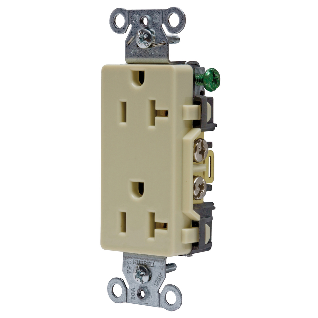 Hubbell Wiring Devices DR20I 20 Amp 125 Volt 2-Pole 3-Wire NEMA 5-20R Ivory Decorator Straight Blade Receptacle