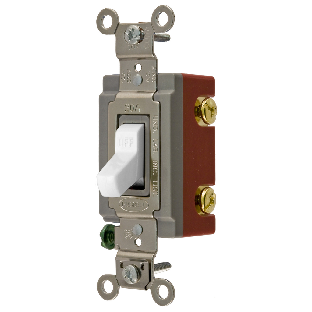 Hubbell Wiring Devices HBL1222W 20 Amp 120/277 VAC 2-Pole White Toggle Switch