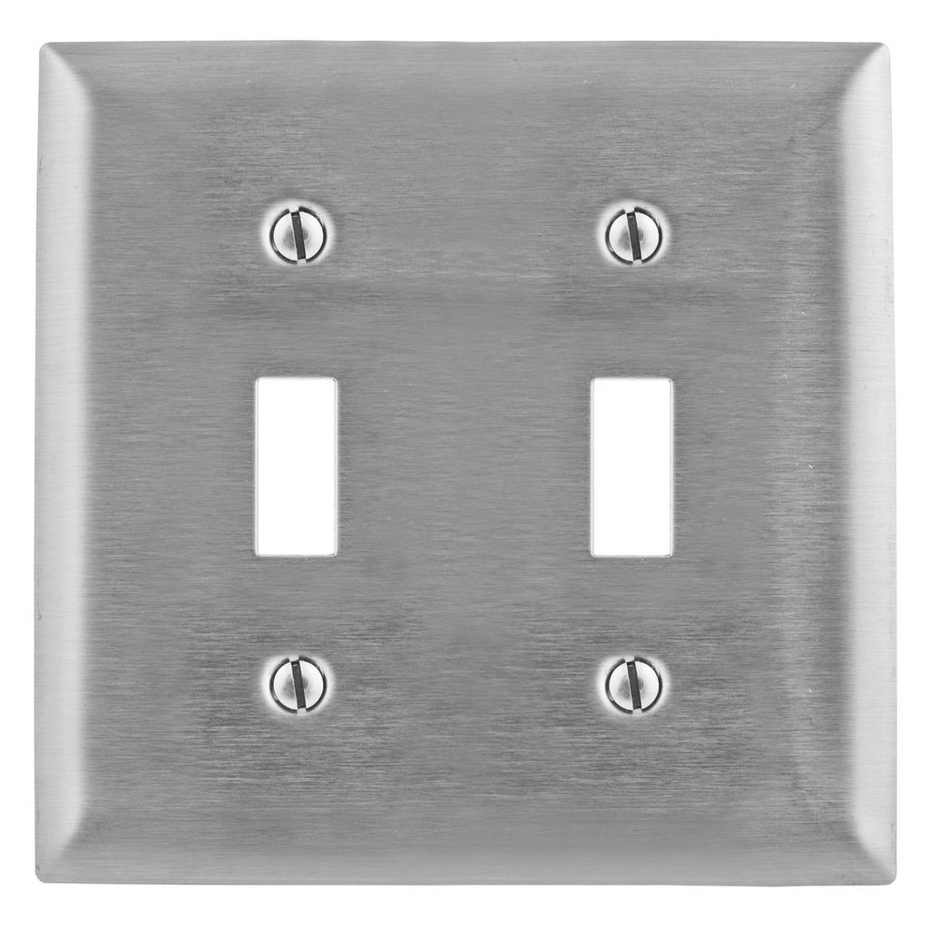 Hubbell Wiring Devices SSJ2 2-Gang Stainless Steel Jumbo 2-Toggle Switch Strap Mount Wallplate