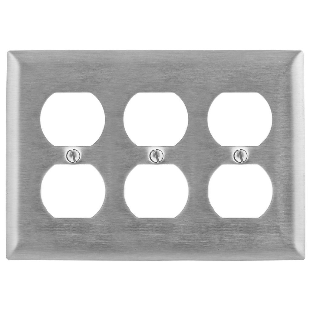 Hubbell Wiring Devices SS83 3-Gang Stainless Steel 3-Duplex Receptacle Strap Mount Wallplate