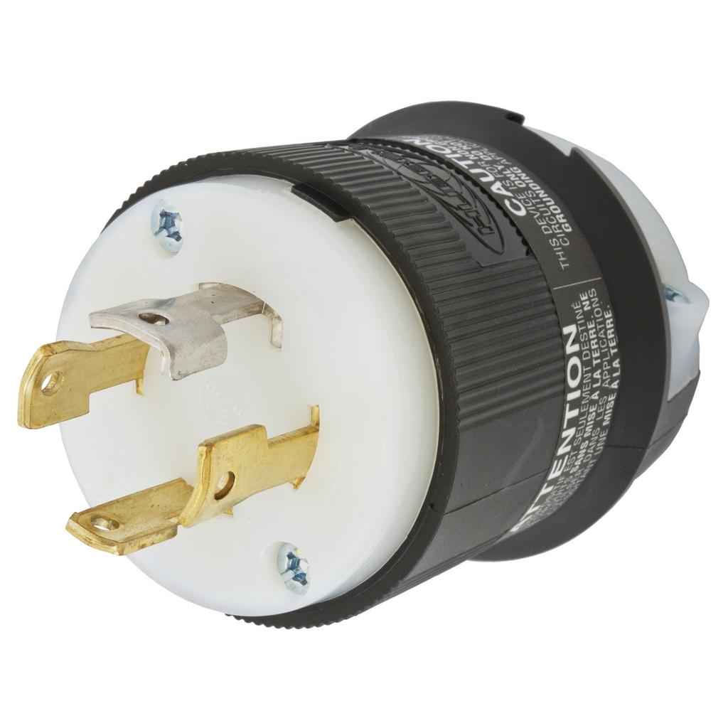 Hubbell Wiring Devices HBL2751 30 Amp 120/208 VAC 4-Pole 4-Wire NEMA L18-30P Black and White Locking Plug